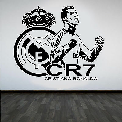 CRISTIANO RONALDO Vinyl Wall Sticker REAL MADRID FC Footballer Mural Decal Art #