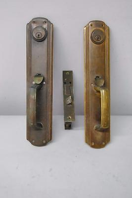 Art Deco Russwin Brass Lock Set, Door Handles Plates With Thumb Latch