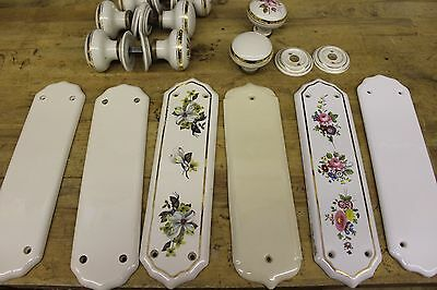 4 Pairs of Reclaimed Ceramic Door Knobs and 6 Assorted Ceramic Finger Plates