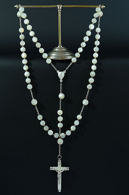 Very large superb 19thc french Rosary mother of pearl & sterling silver
