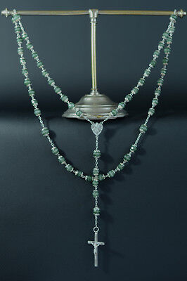 Art Nouveau very elegant french Rosary glass paste & sterling silver all caped