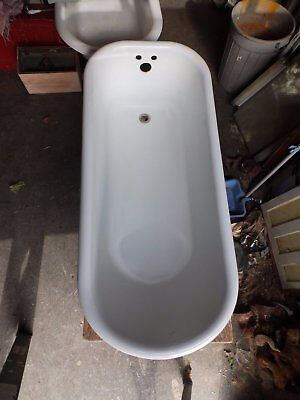 Antique 5' Cast Iron White Porcelain Claw foot Bathtub Vtg Bathroom 1897-16