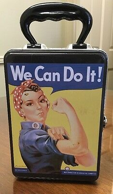 """We Can Do It! Women in the War 'We Can""""t Win Without Them"""" Metal Lunch Box Small"""