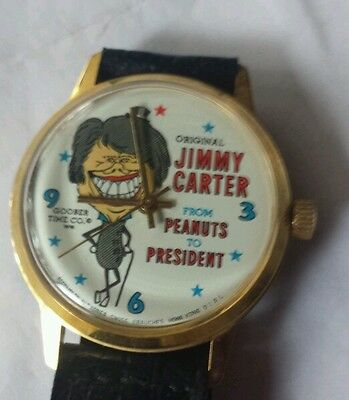 "1976 Jimmy Carter ""Peanuts to President"" Wrist Watch Goober Time Co."