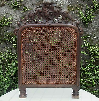 ANTIQUE FRENCH 19thC CARVED WOOD / RATTAN SCREEN UNUSUAL CONVERTED CHAIR BACK