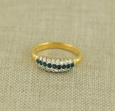 Alter Damen Ring Gold pl. Steine antik silver damenring Schmuck jewelry 18 mm.