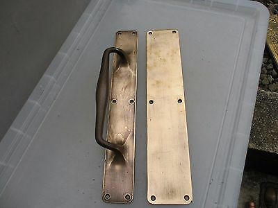 Antique Bronze Door Handle Set Shop Pull Finger Push Plate Vintage Edwardian 15""
