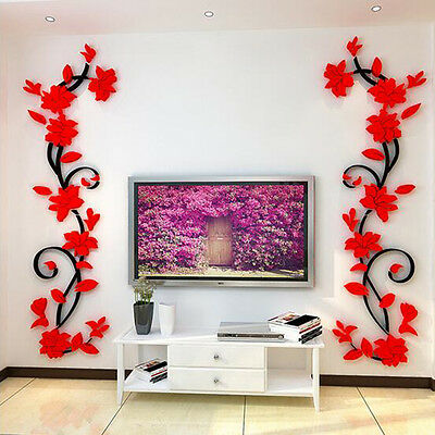 3D Flower Vine Wall Sticker Removable Sticker Home Bedroom Acrylic Decor