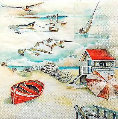 4 Vintage Table Paper Napkins for Decoupage Lunch Decopatch Craft Beach Sea Side
