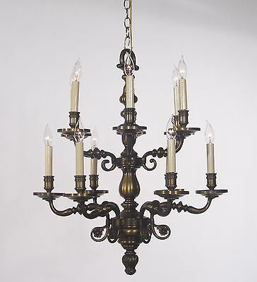 Antique 12 Light Flemish Colonial Chandelier circa 1960's