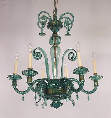 Antique 6 Light Majorcan Emerald Venetian Chandelier circa 1920's