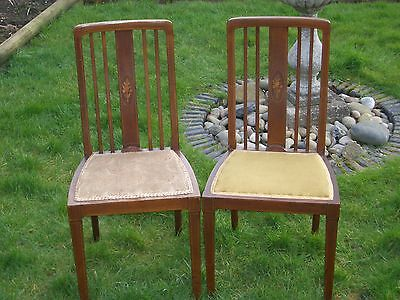 Antique Pair Of Edwardian Mahogany Inlaid Dining Chairs