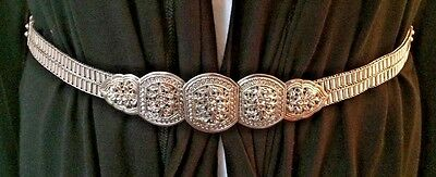 """925 Solid Sterling Silver Woven Floral 31"""" Belt 266 gm Ornate HIGH Quality Rare!"""