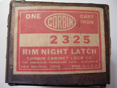 Vintage Corbin Rim Night Latch Lock # 2325 Cast Iron Lock - missing screws