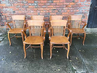 Fabulous And Unusual Set Of Six Oak Office Chairs By Simpoles Of Manchester