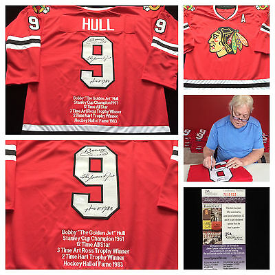 Bobby Hull Chicago Blackhawks Signed Autograph Stat NHL Hockey Jersey JSA COA