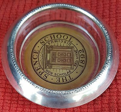 Vintage SPENCE SCHOOL Frank M. Whiting Sterling Silver & Glass Ashtray, ash tray
