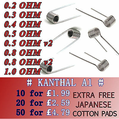 Pre Made Ready Coils Wires RBA RDA Built Sub Ohm Kanthal A1 Clapton Alien Cotton