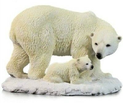 "8.75"" Polar Bear and Cub Statue Wild Animal Decor Sculpture Figure White Snow"