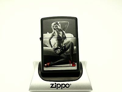 Zippo Lighter - RED SHOE Monochrome pin up series - Sexy Erotic BLONDE WOMAN