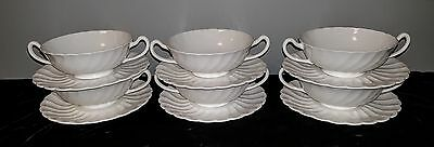 6 CREAM SOUP BOWL & SAUCER SETS Tuscan Fine English Bone China WHITECLIFFE