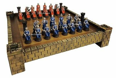 "MEDIEVAL TIMES CRUSADES WARRIOR RED & BLUE chess set W/ 17"" CASTLE BOARD"
