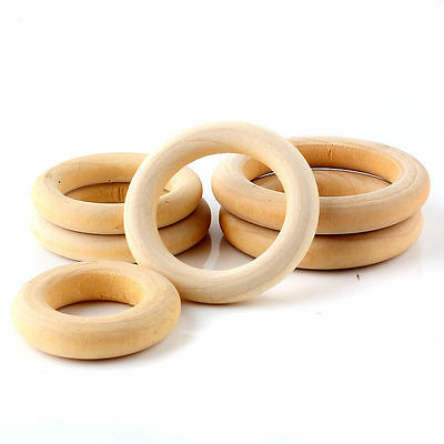 10pcs Natural Wood Rings Wooden round for Craft Pendant DIY Jewelry 40mm-60mm