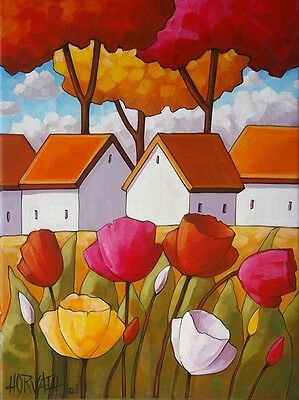 8x11 Folk Art Print Cottage Tulips ARCHIVAL ARTWORK GICLEE Artist Cathy Horvath