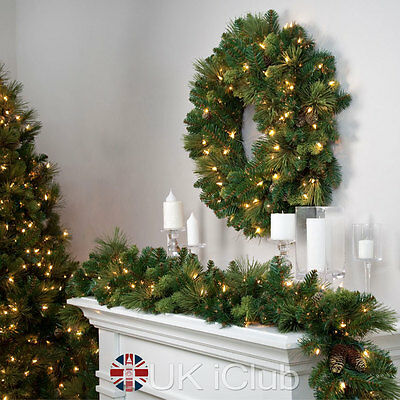 2.7M Xmas Fireplace Tree Artificial Green Christmas Garland Decoration Wreaths