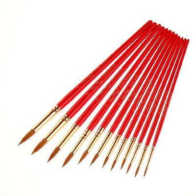12Pcs Artists Paint Brush Set Acrylic Watercolor Round Pointed Tip Nylon Hair HY
