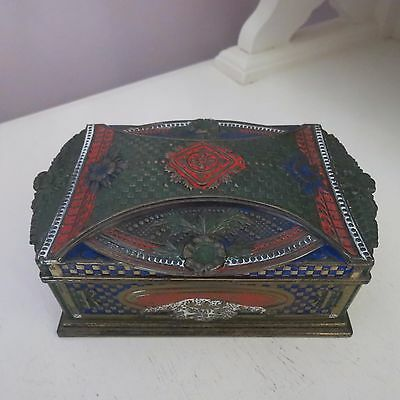 Antique vintage embossed & painted brass cigarette box