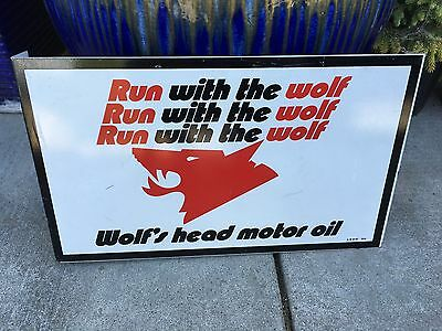 Vintage Wolfs Head Motor Oil Flange Sign