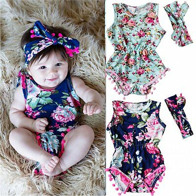 2pcs Newborn Baby Girls Floral Headband+Bodysuit Romper Jumpsuit Outfits Clothes