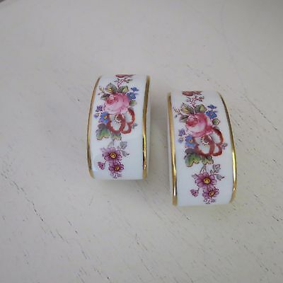 Royal crown derby napkin rings x 2 bouquet of roses and flowers