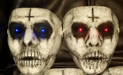 x2 The Purge Mask Anarchy 1 RED + 1 BLUE Light up Handmade w LED Eyes Halloween