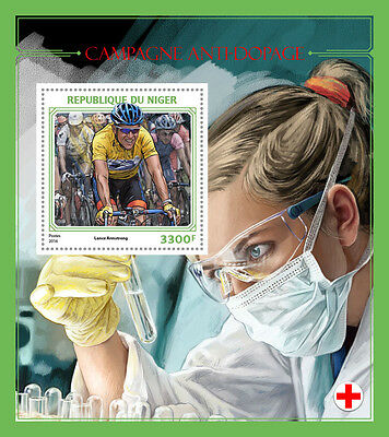 NIGER 2016 ** Anti-doping Campaign Bicycle Racing Armstrong S/S IMPERF. #402b