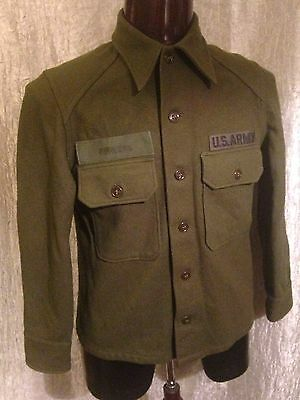Vintage Olive Green Wool Field Shirt US Army Cold Weather Size Medium