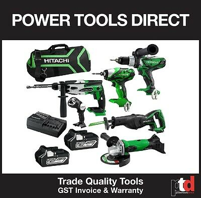 New Hitachi 18V Cordless 6 Piece Combo Kit - Hammer Drill Impact Driver 6Amp