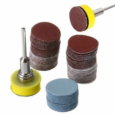 "100Pcs Mix SandPaper & Abrasives 1"" Hook & Loop Backer Plate 1/8"" inch Shank Set"