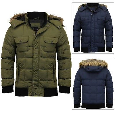 15d4cff0dcd Dissident Mens Hooded Jacket With Detachable Faux Fur Puffer Padded Parka  Coat
