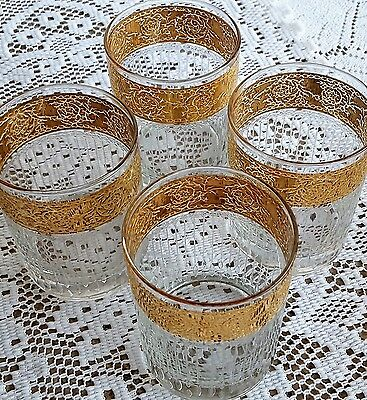Set of 4 Vintage Culver Tyrol Gold Double Old Fashioned Tumblers Glasses