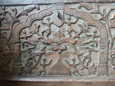 Antique Beautifully Hand Carved Indian Solid Wood Chest Trunk