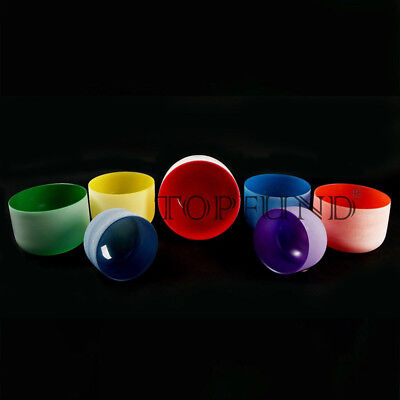 """Chakra Tuned Set of 7 Colored Frosted Quartz Crystal Singing Bowls 8"""" -12"""""""