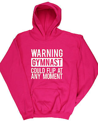 Warning Gymnast Could Flip At Any Moment Gymnastics kids unisex Hoodie hooded to