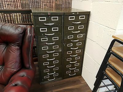 Set of 2 Vintage Roneo Filing Cabinets