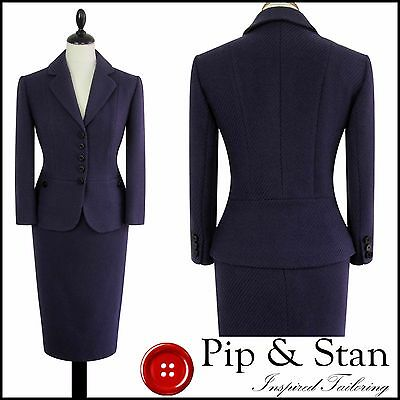 M&s Uk8 Us4 Purple Wool 50S Inspired Pencil Skirt Suit Womens Ladies Size
