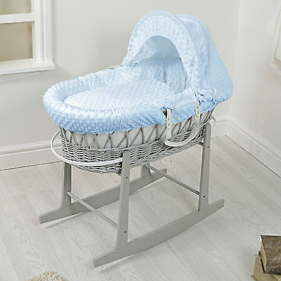 New 4Baby Grey Wicker / Blue Dimple Padded Baby Moses Basket & Rocking Stand