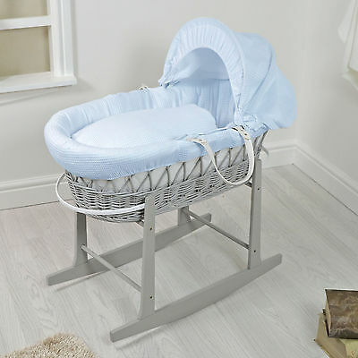 New 4Baby Grey Wicker / Blue Waffle Padded Baby Moses Basket & Rocking Stand
