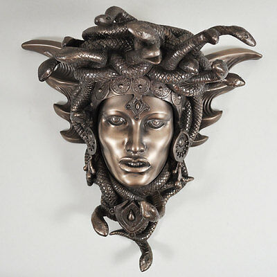 Medusa Guardian Head Wall Plaque Sculpture Cold Cast Bronze Gift Home Deco 34078