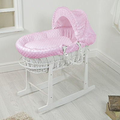 New 4Baby White Wicker / Pink Dimple Padded Baby Moses Basket & Rocking Stand